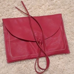 Zara leather envelope clutch
